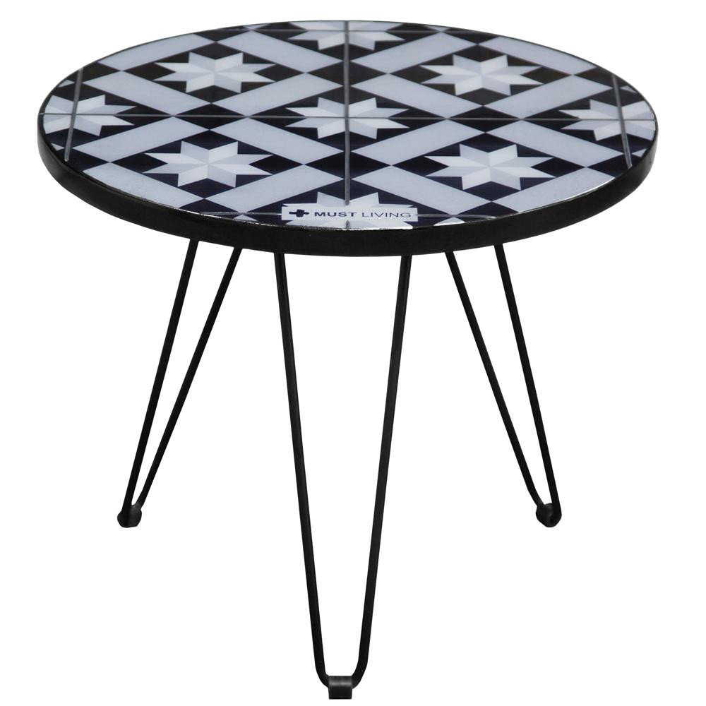Beistelltisch couchtisch sultan rund fliesen tisch for Couchtisch metall schwarz
