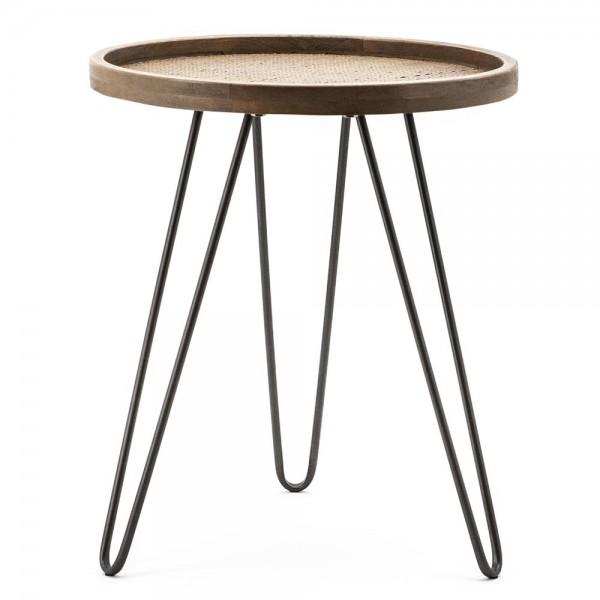 Beistelltisch Drax Ø 40 cm Anstelltisch Sofatisch Tisch Eiche braun Couchtisch
