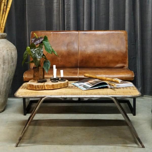 Industrie Design Couchtisch 106 x 64 cm Metall anthrazit Massivholz Sofatisch Tisch Beistelltisch