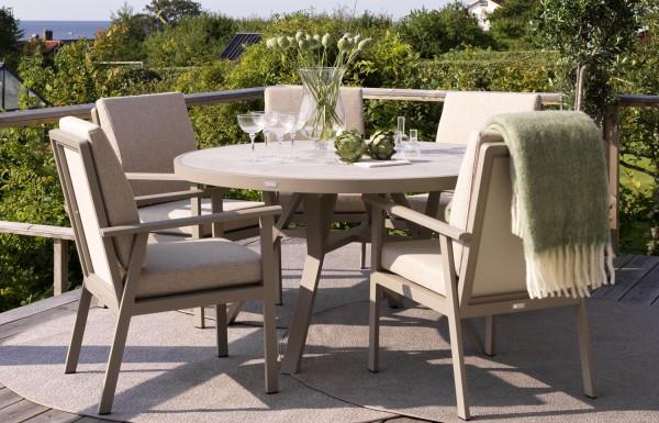 Gartenmöbel Esstischgruppe Samvaro beige Tisch Ø 140 cm mit 5 Stühlen incl. Sitz- und Rückenkissen