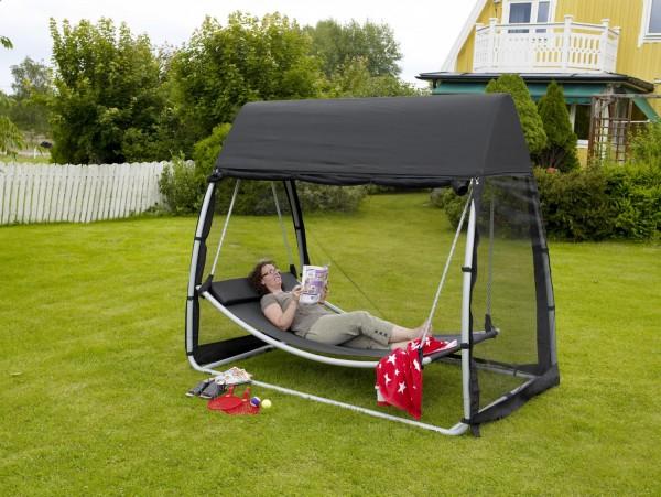 Garten Hängeliege Sonnenliege mit Dach Hängematte schwarz