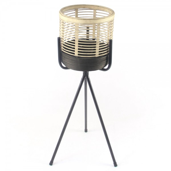 Tischdeko Pflanzgefäß Tiger klein Bambus Metall Pflanzkasten Blumenkasten