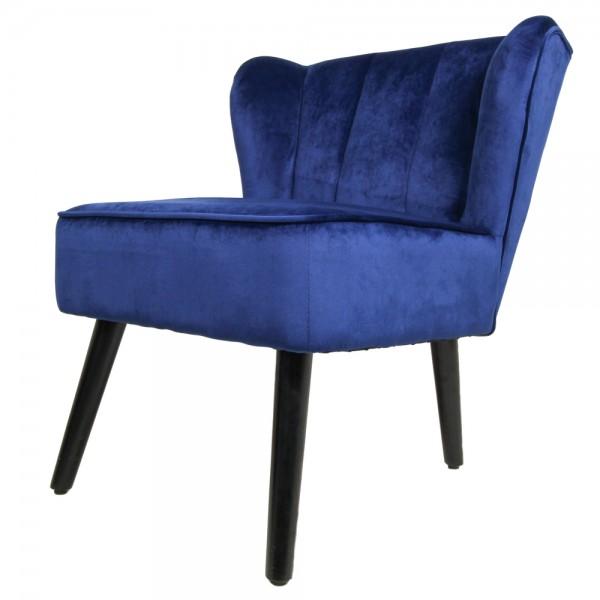 Retro Cocktailsessel dunkelblau Sessel Samt Velvet Loungesessel Fernsehsessel Relaxsessel