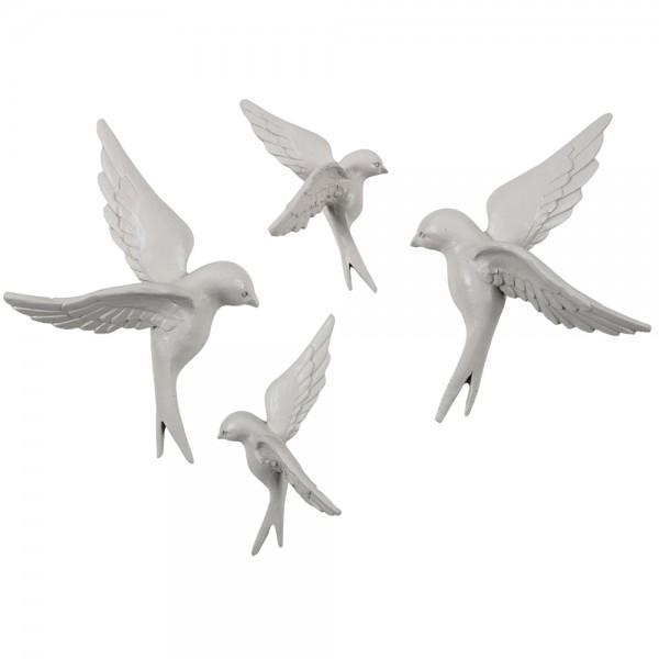 BePureHome 4er Set Wanddeko Vögel Dekovögel grau Wanddekoration