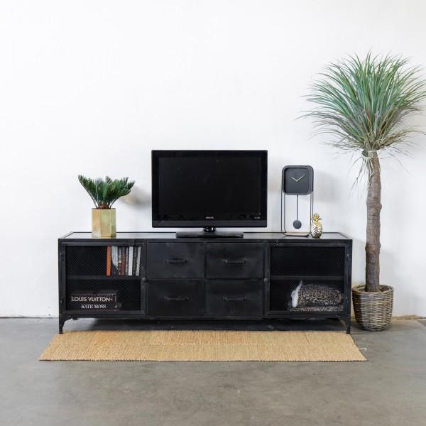 Industrie TV Möbel NICO 200 cm Lowboard Metall schwarz