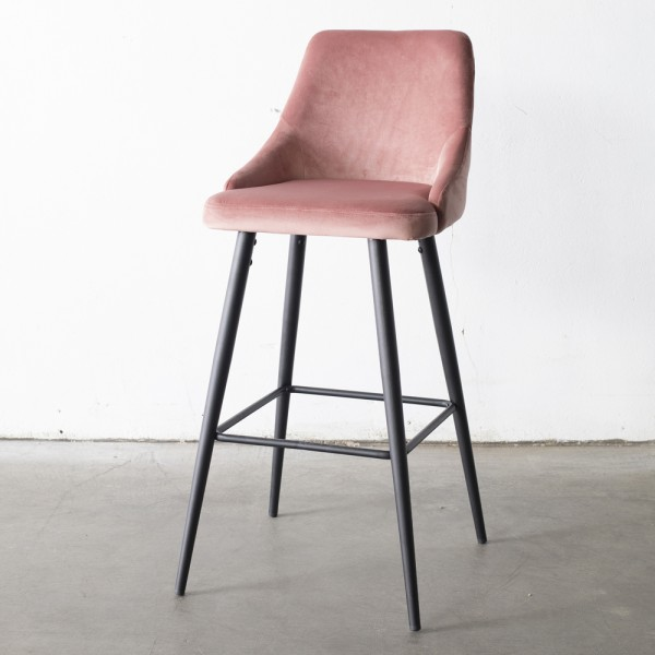Barhocker Amber Samt rosa Tresenhocker Hocker Barstuhl Küchenhocker Stuhl