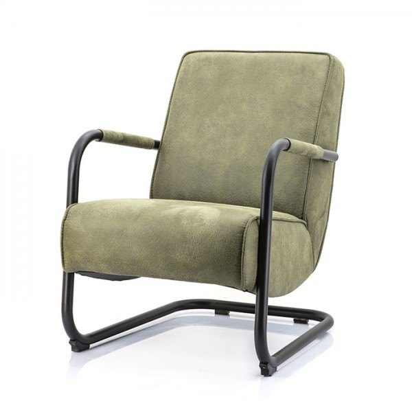 Armlehnensessel Sessel PIEN Vintage LEder look grün