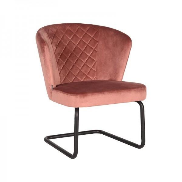 Lounge Sessel Flow Samt Velvet rosa