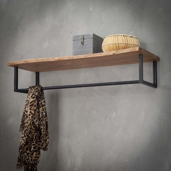 Wandgarderobe Kleiderstange 100 cm Holz Metall Garderobe