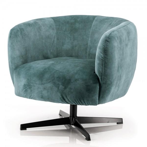 Lounge Club Sessel Jaimey Samt blau-grün Velvet Relaxsessel