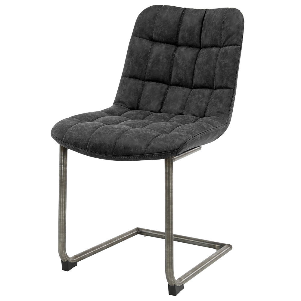 Stuhl BELLA Leder schwarz Schwingstuhl Freischwinger