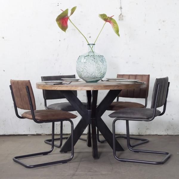 Industrie Esstisch BARN Ø 120 cm rund Tisch Mango
