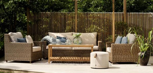 Exclusive Garten Loungegruppe Sandkorn Polyrattan natur Rattanmöbel