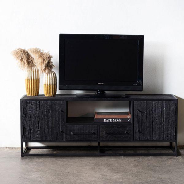 Industrie TV Möbel BLAKE 150 cm Lowboard Mangoholz Metall schwarz