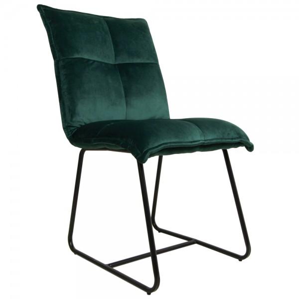 2er Set Stuhl Estelle dunkelgrün Samt Velvet Kufenstuhl Esszimmerstuhl Küchenstuhl