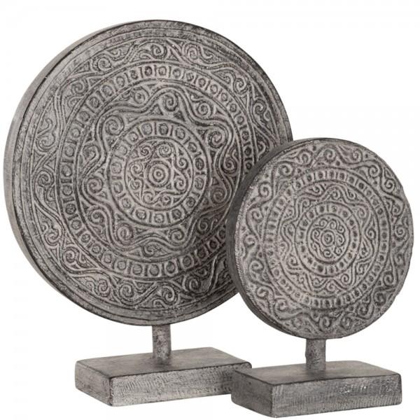 Vintage Deko 2er Set Skulptur Ornament altweiß Tischdeko Standfigur Objekt