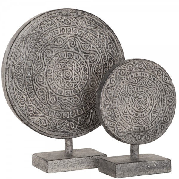 MUST LIVING Vintage Deko 2er Set Skulptur Ornament altweiß Tischdeko Standfigur Objekt