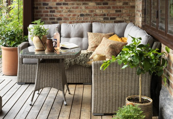 Gartenlounge Gruppe Ashfield Polyrattan beige Sitzecke Loungeecke