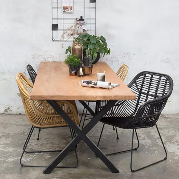 Industrie Esstisch WIGGE 240 x 90 cm Esszimmertisch Massivholz Dinnertisch Metall schwarz