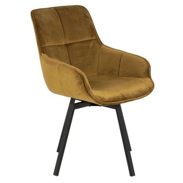 Esstischstuhl Stuhl drehbar Shannon Samtbezug gelb