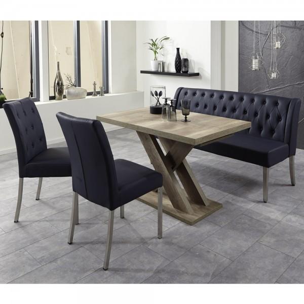 Bankgruppe Essgruppe LIVERPOOL Tischgruppe Bank Tisch Stühle Wildeiche blau