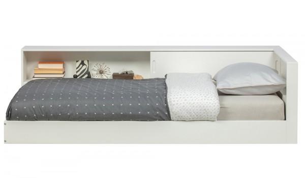 woood Eckbett Connect Bett 213 x 118 cm Kiefer weiß