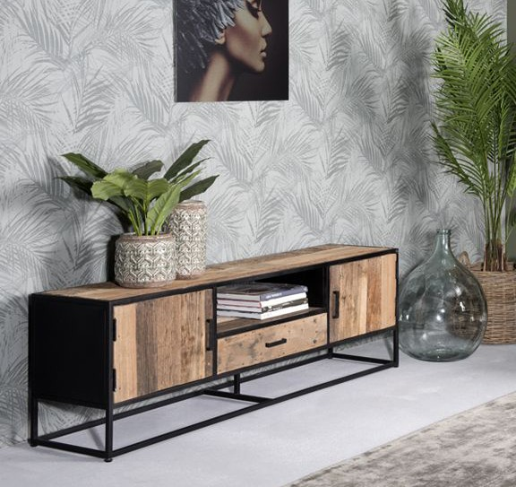 TV Möbel Dakota B 150 cm TV-Board Riverwood Metall