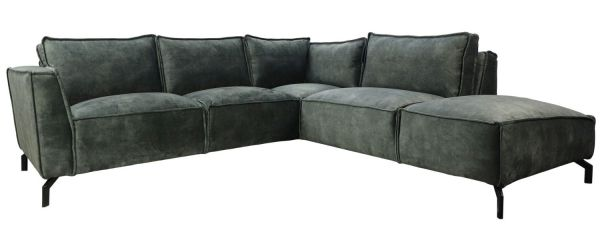 Eckgarnitur Morgan 2,5 Sitzer Velour hunter Samt Couch Sofa Ecksofa Longchair rechts