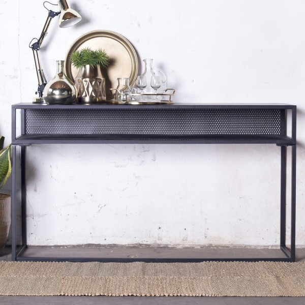 Sideboard Konsole Floor 140 x 40 cm Metall schwarz