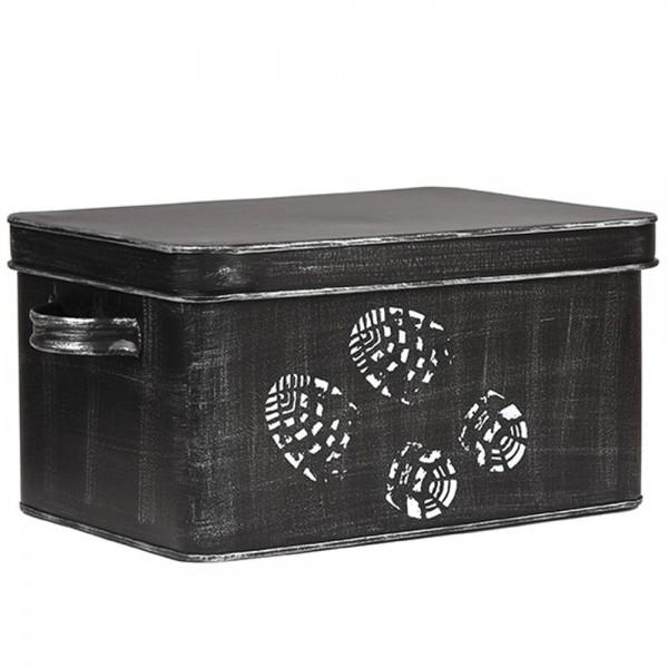 Schuhputz Box Aufbewahrungsbox Schuhputzkiste Schuhputzkasten Metall schwarz