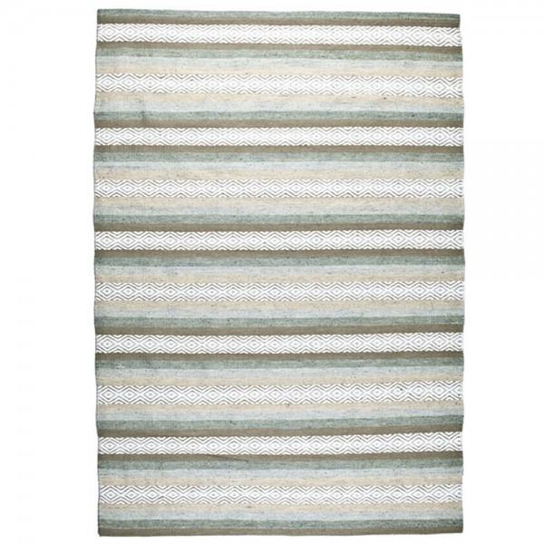 Wohnzimmer Gump Teppich Streifen Baumwollteppich Teppiche Carpet Baumwolle grün
