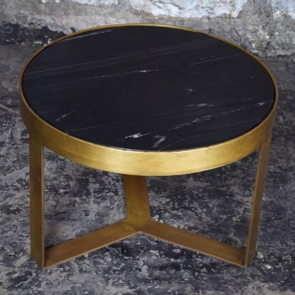 Beistelltisch Glennis Marble Ø 50 cm Black Gold Marmor Metall