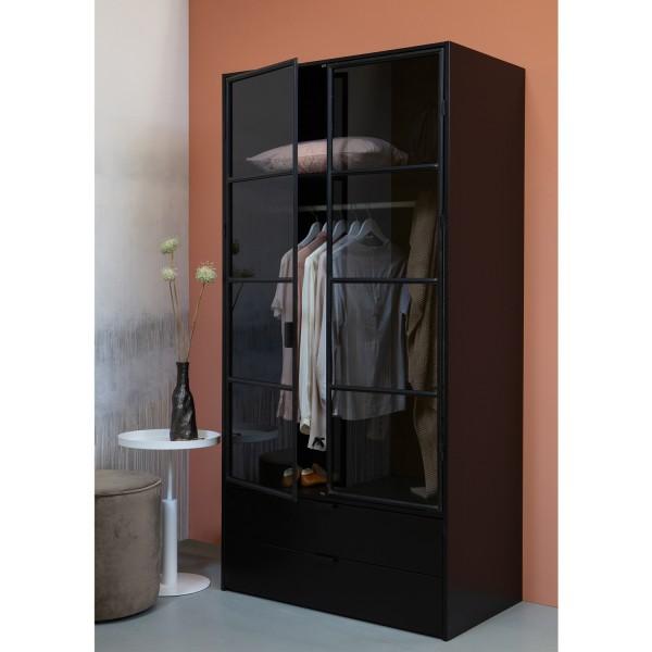 woood Kleiderschrank Sivan Garderobe schwarz Schrank