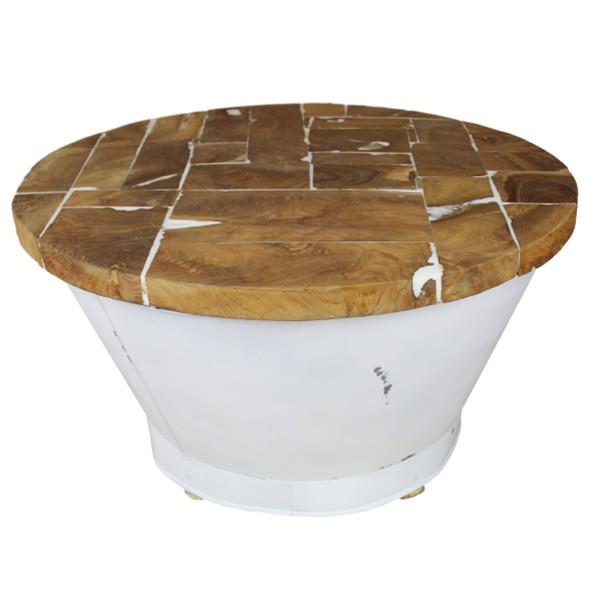 Beistelltisch Couchtisch EMMER rund Ø 75 cm weiß Kaffeetisch Tisch Massivholz