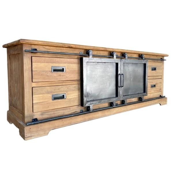 Vintage TV Möbel Porto 180 cm Teakholz Metall Lowboard Fernsehrack Rack Türen