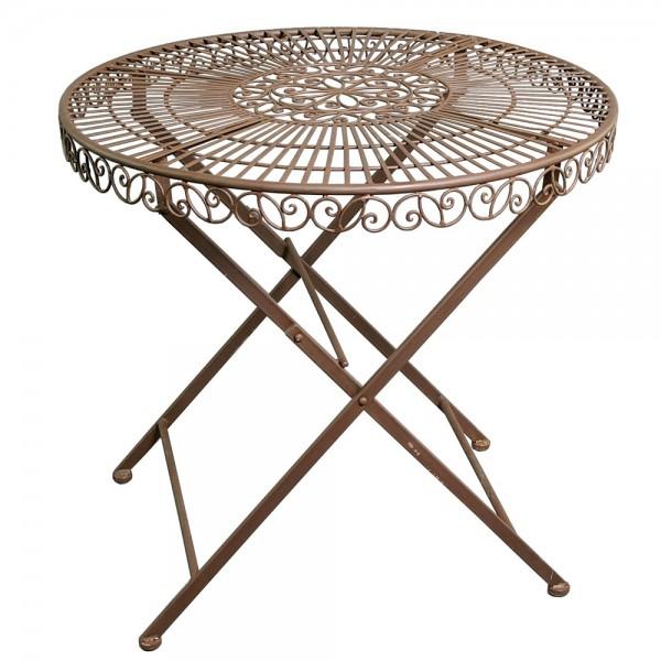 Landhaus Eisentisch Ø 70 cm Tisch Klapptisch Dekotisch rund Eisen rostbraun