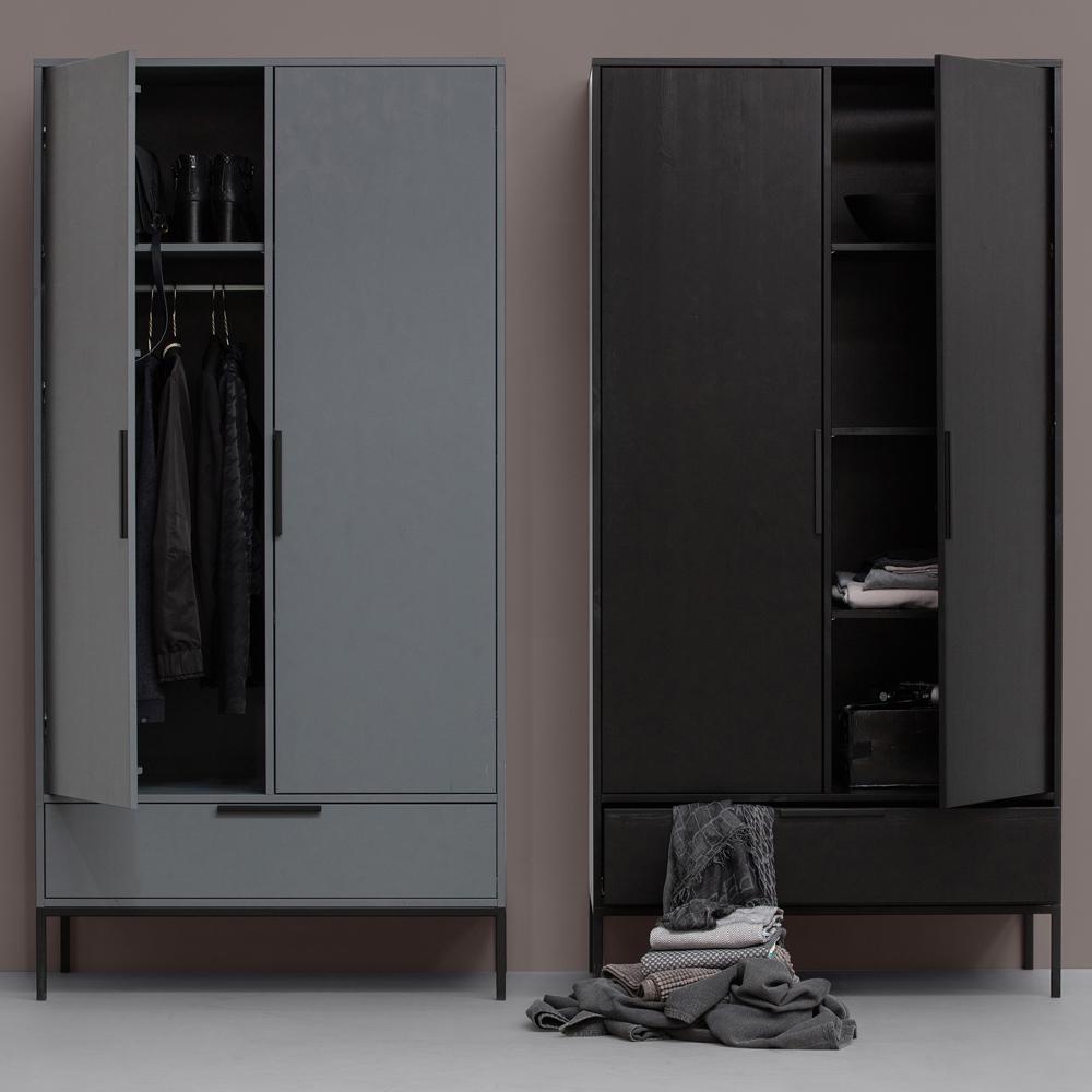Kleiderschrank Adam Schwarz 100 Cm Schrank Schlafzimmer Kiefer New Maison Esto Ihr Grosser Mobel Online Shop