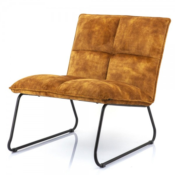 Lounge Chair Sessel Ruby ocker Samt Velvet