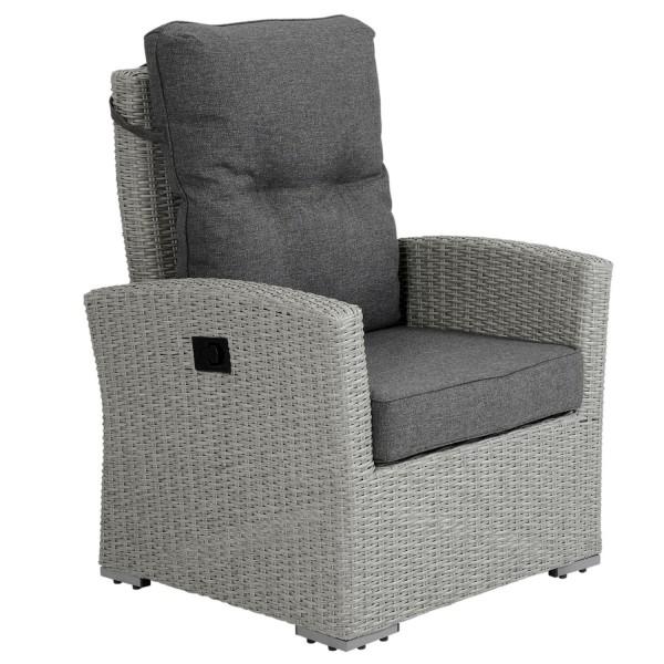 Brafab Gartensessel Ashfield grau verstellbar Polyrattan Polster Gartenmöbel Sessel