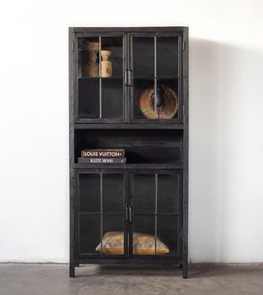 Industrie Metall Vitrine Izou mit Mangoholz 190 cm schwarz