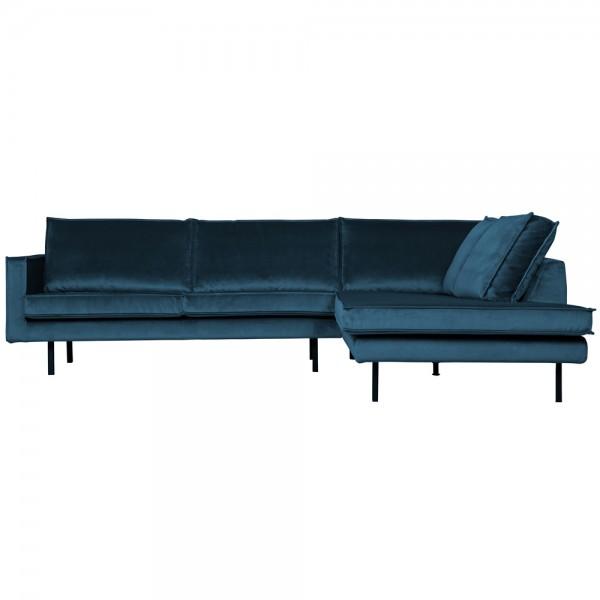 Eckgarnitur Rodeo Samt blau Couch Sofa Ecksofa Longchair rechts