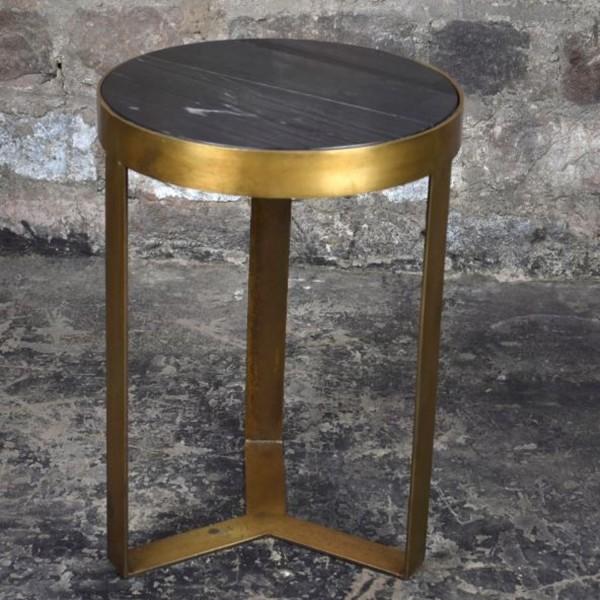 Beistelltisch Glennis Marble Ø 40 cm Black Gold Marmor Metall