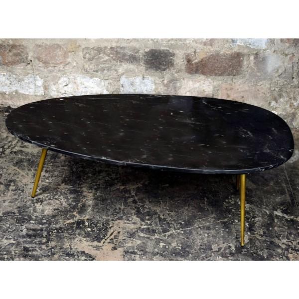 Couchtisch Organic 110 cm Marmor schwarz Metall goldfarben