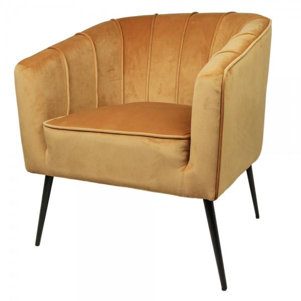 Lounge Sessel Chester senffarben Samt Velvet Armlehnsessel Fernsehsessel Relaxsessel