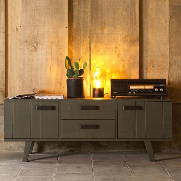 vintage tv m bel watch 150 cm gr n lowboard board fernseh. Black Bedroom Furniture Sets. Home Design Ideas