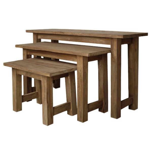 3er Set Massivholz Teak natur Hocker Fußhocker Sitzhocker Massiv Sitz Holzhocker
