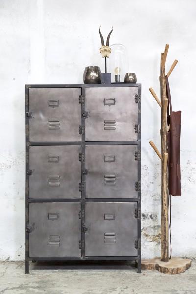 Industrie Kommode NEW VINTAGE 6 Türen Metall silber