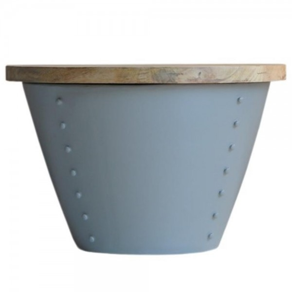 Couchtisch INDI grau Ø 46 cm Metall Mango massiv Beistelltisch Sofatisch Tisch