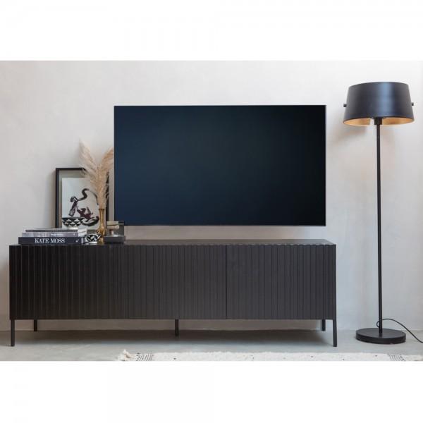 TV Möbel Gravure 180 cm Lowboard Kiefer schwarz