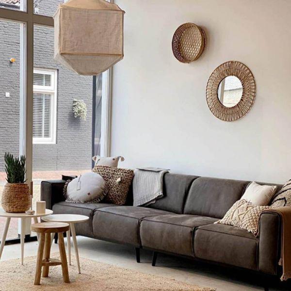 BePureHome 4 Sitzer Sofa STATEMENT Leder grau